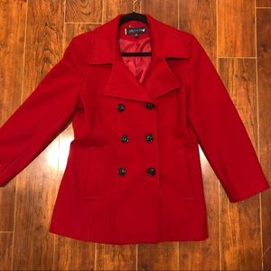AK ANNE KLEIN Red Double-breasted pea coat